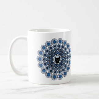 cat mandala mug blue
