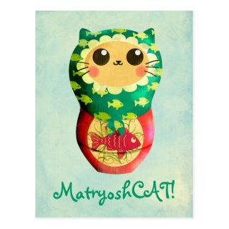 Cat Matryoshka Doll Postcard