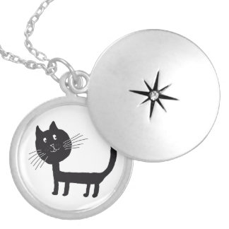 Cat Medium Silver Plated Round Locket