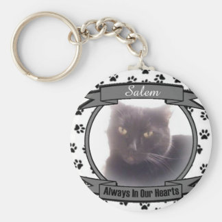 Cat Memorial Always In Our Hearts Basic Round Button Key Ring