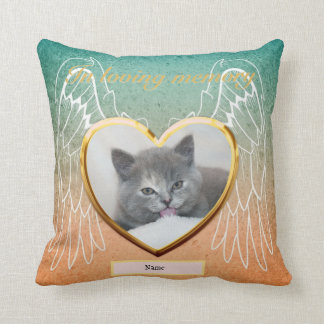 Cat Memorial Angel Wings Photo Personalized Cushion