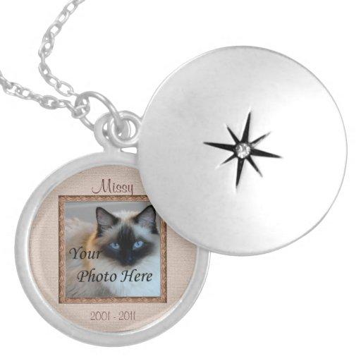 Cat Memorial Brown Tones Custom Photo Locket