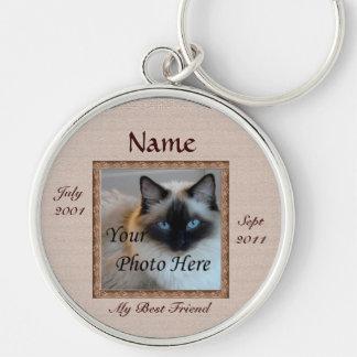 Cat Memorial Brown Tones Custom Photo Pet Loss Silver-Colored Round Key Ring