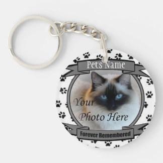 Cat Memorial - Forever Remembered - Pet Loss Cat Double-Sided Round Acrylic Key Ring