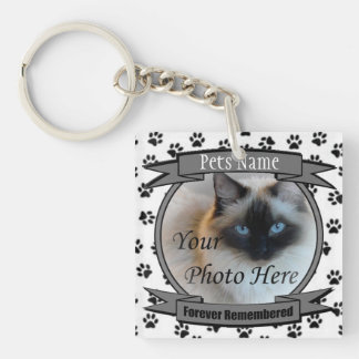 Cat Memorial - Forever Remembered - Pet Loss Cat Double-Sided Square Acrylic Key Ring