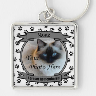 Cat Memorial Forever Remembered Silver-Colored Square Key Ring