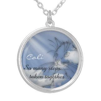 Cat Memorial Keepsake Round Pendant Necklace