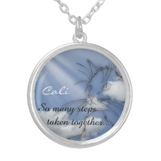 Cat Memorial Keepsake Silver Plated Necklace