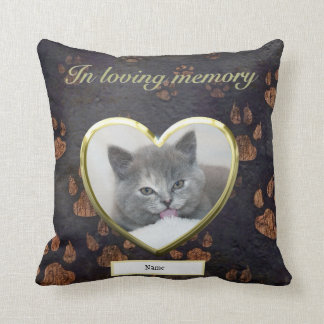 Cat Memorial Rustic Paw Print Photo Personalized Cushion