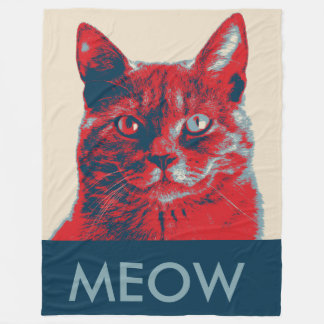 Cat Meow Retro Hope Poster Fleece Blanket