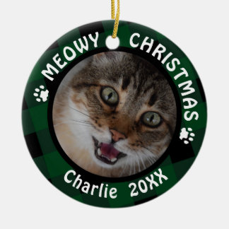 "Cat ""Meowy Christmas"" 2-Sided 2-Photo Green Plaid Ceramic Ornament"