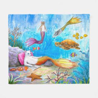Cat Mermaid 31 Fleece Blanket