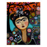 Cat Mexican Lady Day of the Dead Painting Print