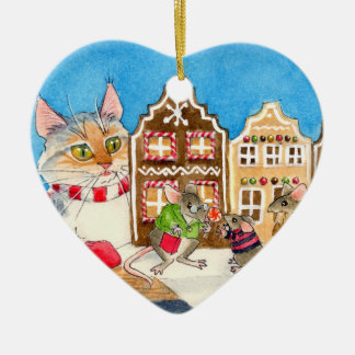 Cat, Mice, Christmas Gingerbread House Ceramic Heart Decoration