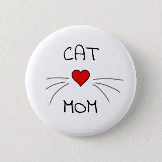 Cat Mom Heart and Whiskers 6 Cm Round Badge