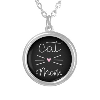 cat mom silver plated necklace