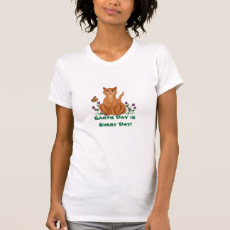 Cat & Monarch Earth Day-Every Day - T-shirt