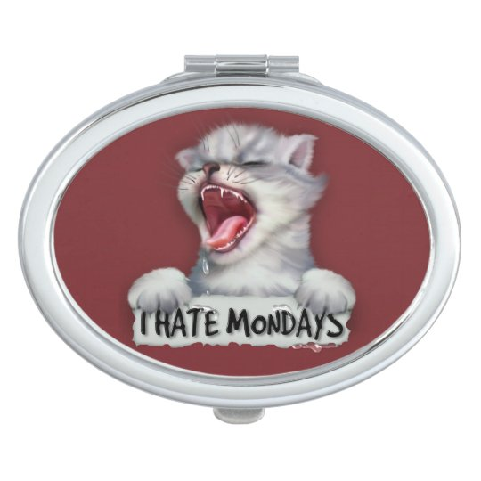 CAT MONDAY CARTOON compact mirror OVAL