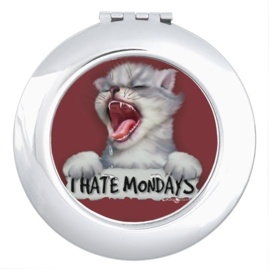 CAT MONDAY CARTOON compact mirror ROUND