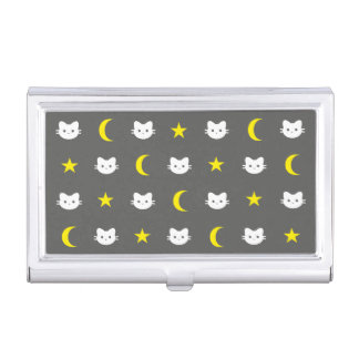Cat Moon And Stars Business Card Holder