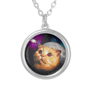 cat moon ,cat and moon ,catmoon ,moon cat silver plated necklace