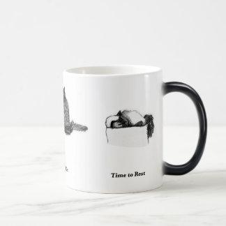 Cat Morphing Mug—Time to Rest, Eat, Dream Magic Mug