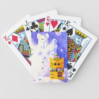 Cat, Mouse and snowman Bicycle Playing Cards