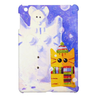 Cat, Mouse and snowman iPad Mini Cover