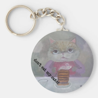 cat & mouse cake art basic round button key ring