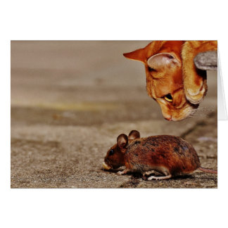 Cat Mouse Missing You Let's Eat Greeting Card