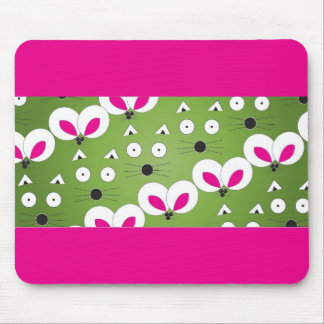 Cat Mouse Pattern green Mouse Pad