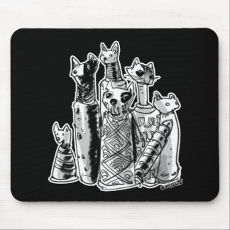 cat mummies cartoon style illustration mouse pad