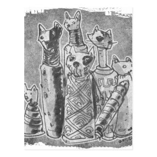 cat mummies grey postcard