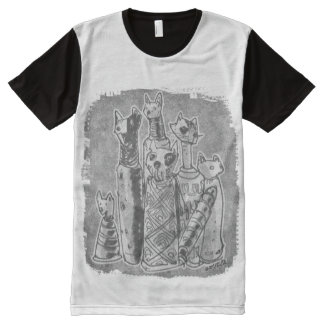 cat mummies grey without text All-Over print T-Shirt