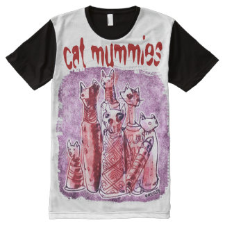 cat mummies purple and red All-Over print T-Shirt
