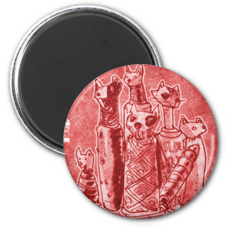 cat mummies red 6 cm round magnet