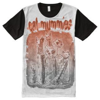cat mummies red grey tint All-Over print T-Shirt