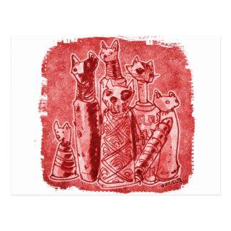 cat mummies red postcard