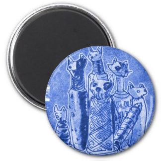 cat mummies sand blue 6 cm round magnet