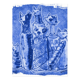 cat mummies sand blue postcard