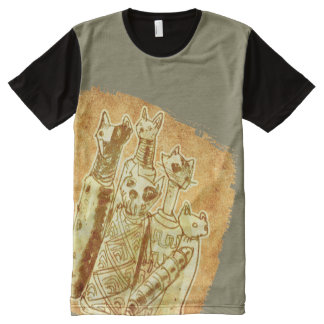 cat mummies yellow sand All-Over print T-Shirt