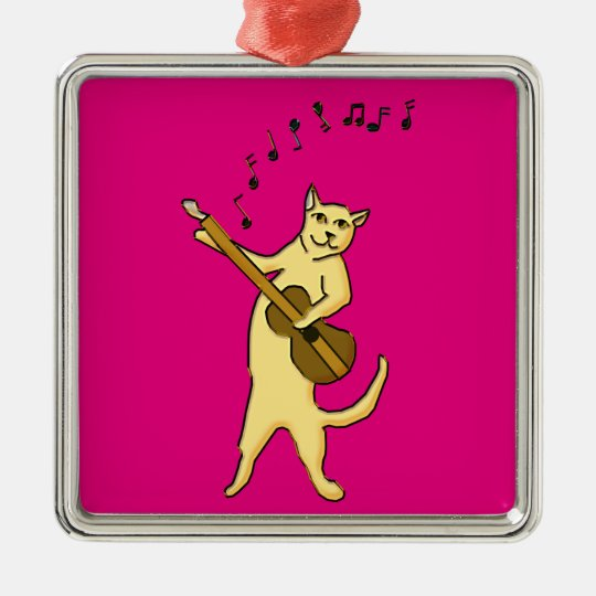 Cat Music Metal Ornament