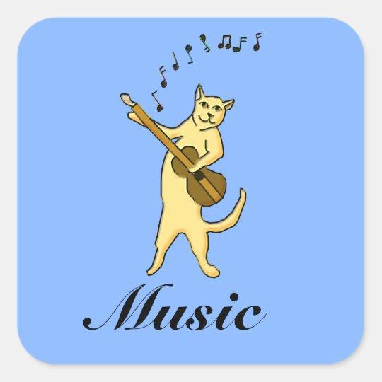 Cat Music Square Sticker