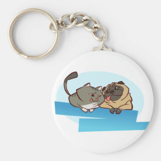 Cat n Pug Key Ring