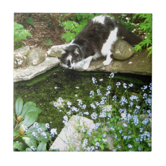 Cat named Gandalf and forget me nots  - photograph Small Square Tile