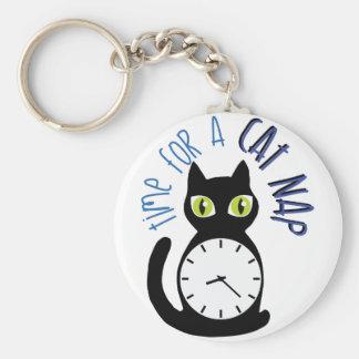 Cat Nap Basic Round Button Key Ring