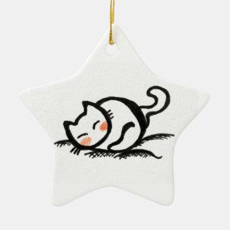Cat Nap . Ceramic Star Decoration