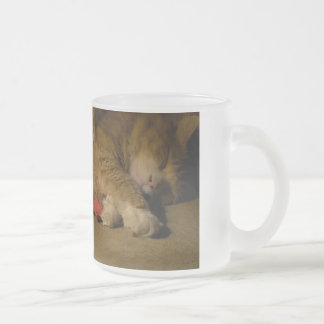Cat Nap Frosted Glass Coffee Mug