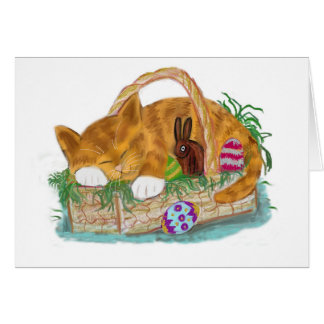 Cat Nap in an Easter Basket Card