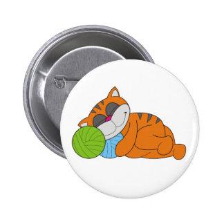 Cat Napping on Yarn 6 Cm Round Badge